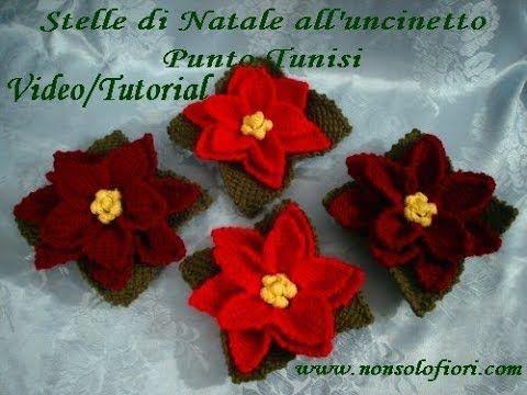 Stella Di Natale Uncinetto Tutorial.Stella Di Natale All Uncinetto Con Punto Tunisi Youtube Crochet