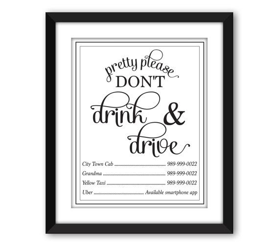 Pretty Please Don't Drink and Drive Sign, Wedding Bar Sign, Bar Decor, Bar Cart Sign, Alcohol Sign, Designated Driver