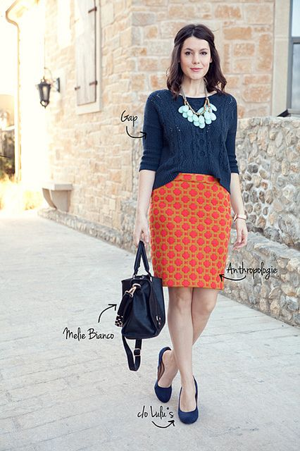 Orange and Navy (and mint!) So good Kendi: Orange Skirts, Colors Combos, Colors Patterns Combos, Navy Sweaters, Colors Combinations, Pencil Skirts, Work Outfits, Mint Necklaces, Colorpattern Combos