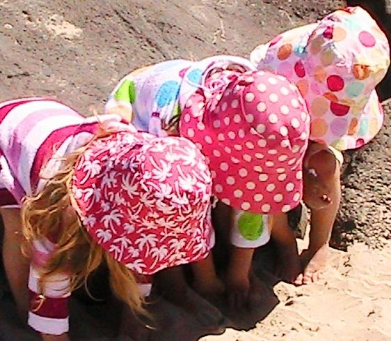 Reversible Sun Hats and Bamboo Towelling Swim Robes for girls, sizes from Newborn to 10yrs