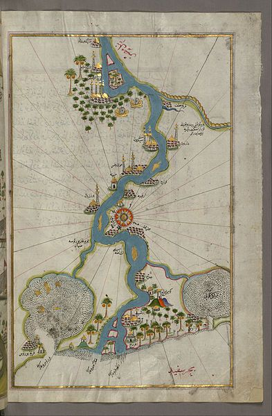 File:Piri Reis - Map of the River Nile From Its Estuary South - Google Art Project.jpg - Wikimedia Commons