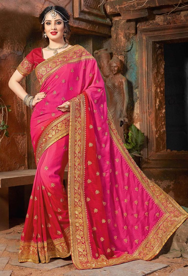 Sparkling Red And Pink Shaded Indian Designer Saree Work Beautiful Half Cherry With Golden Zari Georgette Fabric