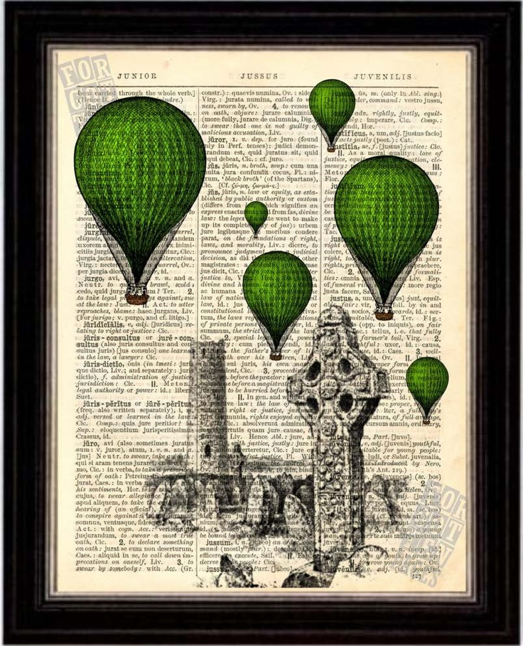 Green Balloons over Irish Round Tower Celtic Cross on Recycled Latin English Dictionary Page
