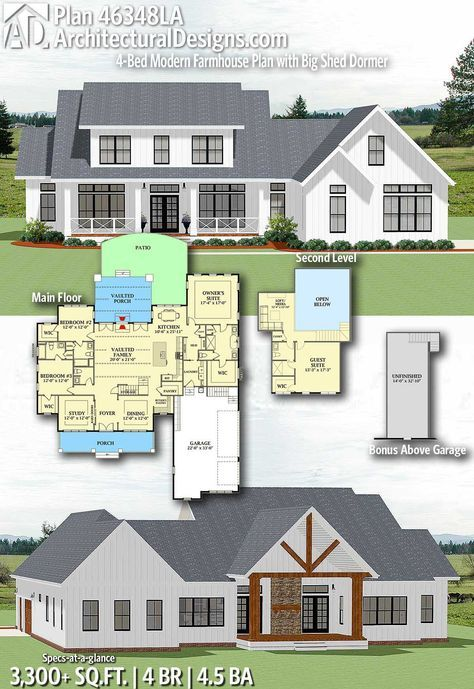 Plan 46348LA 4-Bed Modern Farmhouse Plan with Big Shed Dormer in