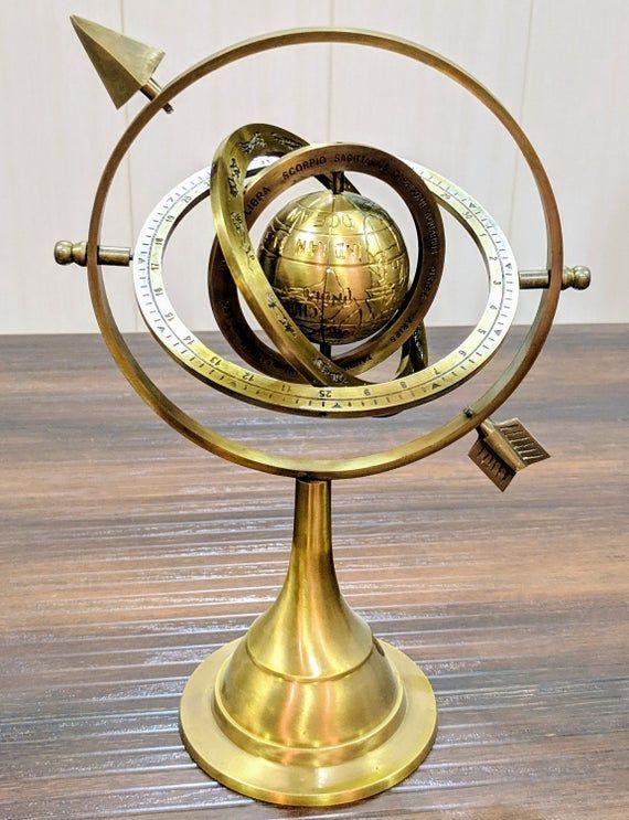 "Nautical Decor Gift Solid Brass Nautical 5/"" Vintage  Arillary World Globe"