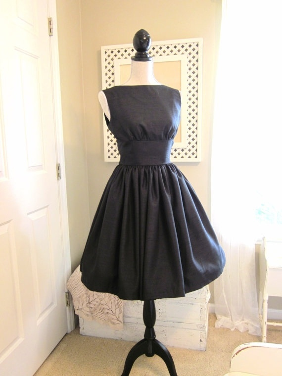 Lovely Black Shantung 1950s Vintage Style Dress by TenderLane, $165.00 jessiestevens