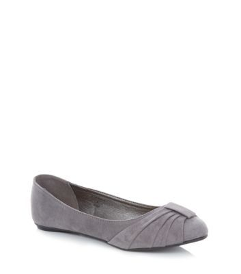 Wide Fit Grey Bow Ballet Pumps