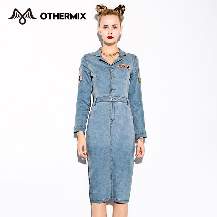 OTHERMIX 2015 Women Dresses New Autumn badge design long sleeve denim  Dresses
