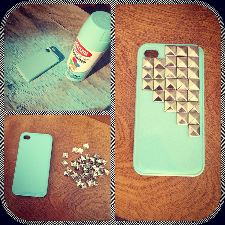 DIY phone case. Spray paint an old/cheap phone case & hot glue studs on and voila! Photo by: Viviana Lara Love it. Have to do this