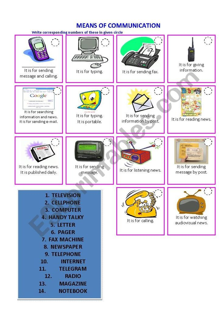 Means of Communication worksheet   Means of communication ...