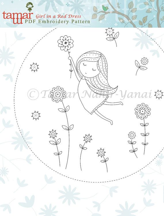 Embroidery Pattern Instant Download Girl in a por TamarNahirYanai