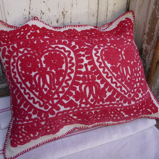 Heart cushion. Hand embroidered on a chunky soft home loomed linen