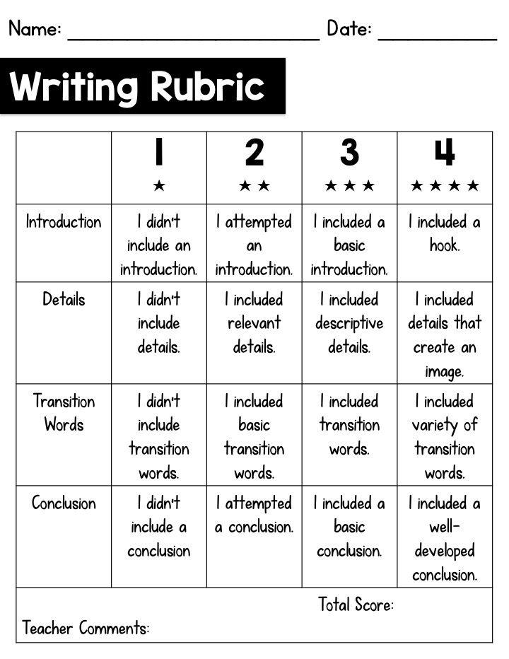 rubric for writing a creative story The story re˜ects few creative, substantive, or imaginative ideas out of the ordinary  torrance legacy creative writing awards short story scoring rubric.