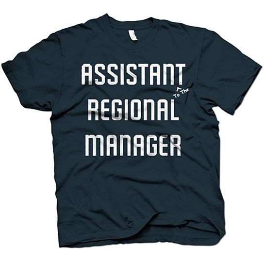 The Office Assistant to the Regional Manager t shirt.  If you loved the TV show you will love this shirt.  Printed on super soft tee.  Women's sizes tend to run small.  Consult size chart. Materials: 100% Cotton Care instructions: Wash cold on gentle cycle. Hang dry. Country of origin: USA Fit: Mens - Standard, Womens - Slim Fit Color: Navy