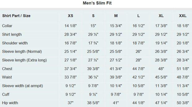 Dress Shirt Size Chart