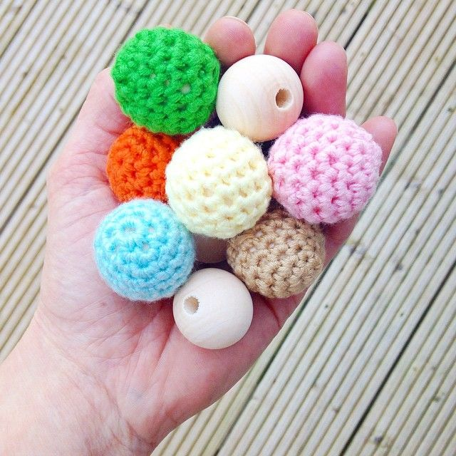 Crochet covered wooden beads for teething toys and much more!