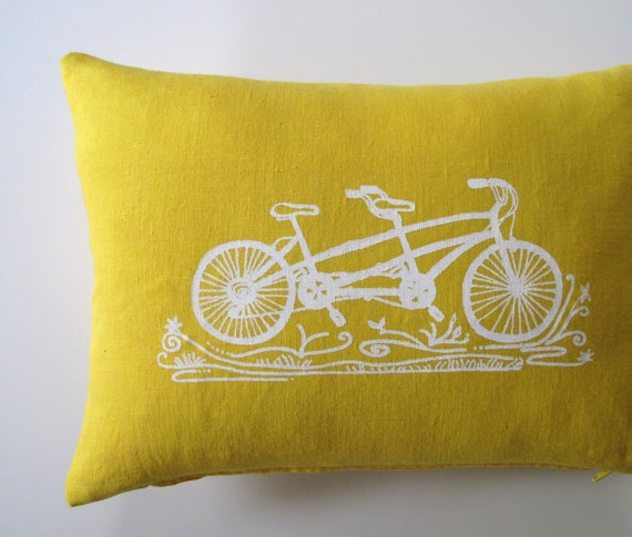 tandem bicycle pillow cover.