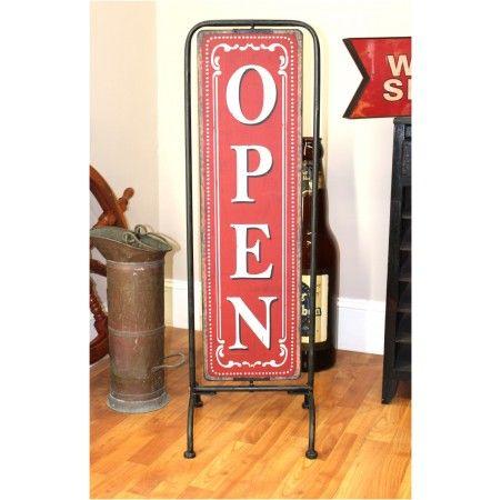 Standing Store Shop Open Closed Sign on Pedestal Antique Design Sandwich Board