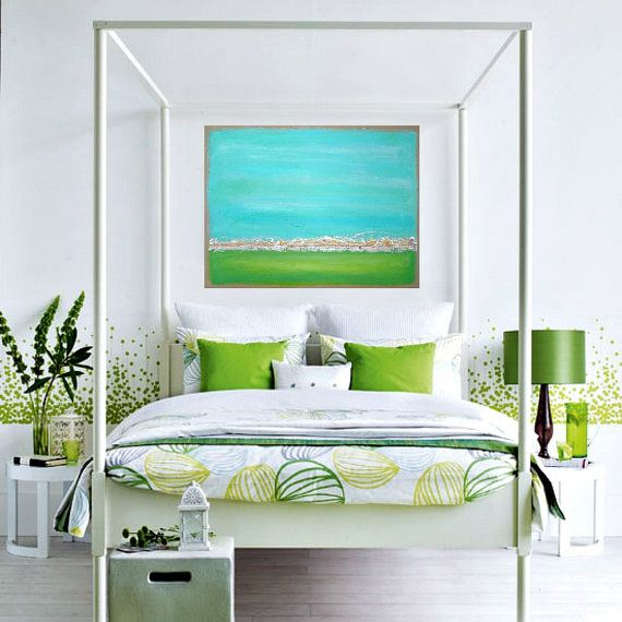 Aqua and Lime Green Original Acrylic Abstract by OraBirenbaumArt, $345.00  Love It All!