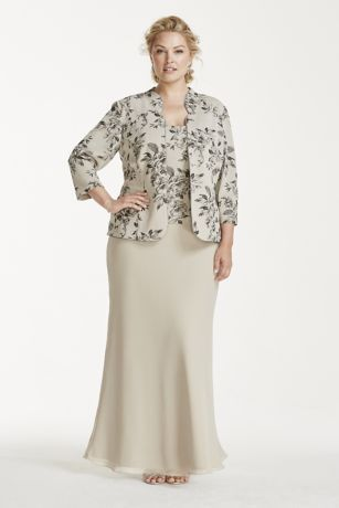 Go for a stylish but modest look with this mock three piece Mother of the Bride dress!  Features 3/4 sleeve jacket and top with floral glitter print.  Floor length skirt is comfortable to move in all day long.  Designed by Alex Evenings.  Fully lined. Back zip. imported polyester.  Machine wash cold, gentle cycle, no bleach. Line dry, low iron on reverse side if necessary. Do not steam, do not dry clean.