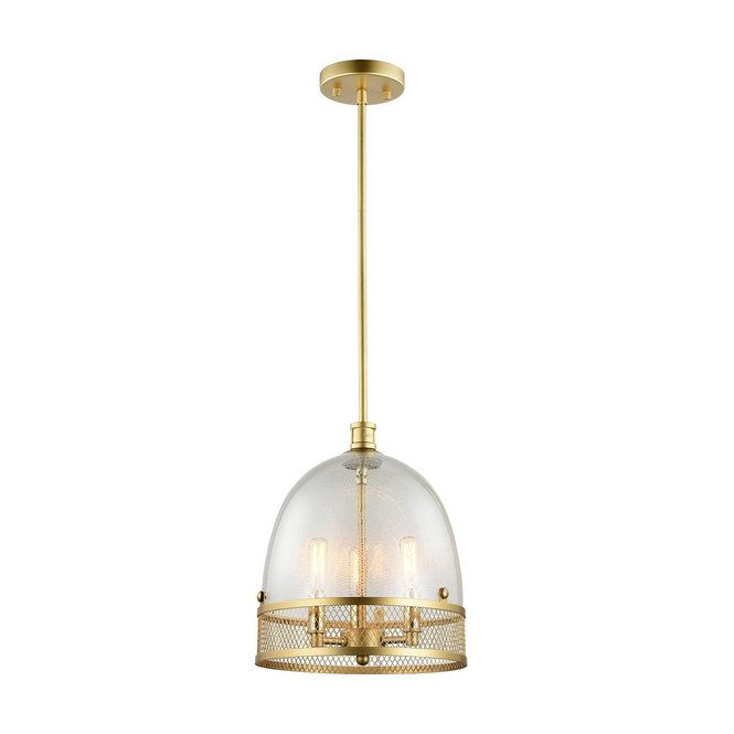 Seeded Glass And Screen Bell Pendant Gold Pendant Lighting Gold