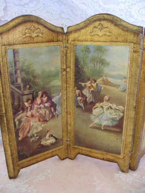 Magnificent Gilded Ornate Vintage Antique Folding Screen Perfect for Small Dolls...