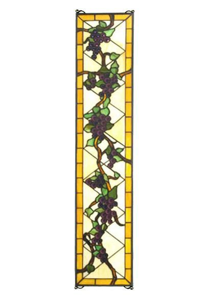 Radiant Concord Grapes of Blue and Purple stained art glass with Vineyard Green Leaves and glistening dew kissed Bark Brown Vines adorn this Meyda Tiffany origi