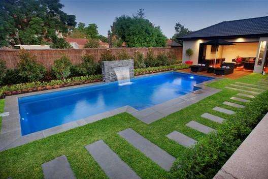 Modern Swimming Pools Designs Ideas : Modern Swimming Pool Designs Green  Lawn Small Water Fall | For The Home | Pinterest | Green Lawn, Pool Designs  And ...