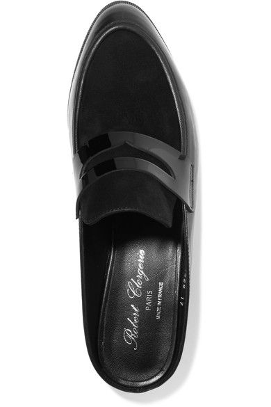 Robert Clergerie - Allan Suede And Patent-paneled Leather Slippers - Black - IT35.5