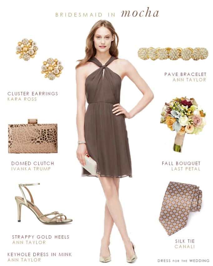 Light Brown Bridesmaid Dress  ---  Dress: Georgette Keyhole Dress in Mink from Ann Taylor  | Earrings: Kara Ross Cluster Earrings |  Bracelet: Pave  Cabachon Bracelet by Ann Taylor | Bouquet: As seen on Project Wedding Photographed by Rebekah Westover Photography  Bouquet by Last Petal | Tie: Woven Silk Tie in Brown pattern by Canali at Nordstrom | Shoes:  Strappy Gold Sandals from Ann Taylor | Clutch:  Ivanka Trump Domed Minaudiere