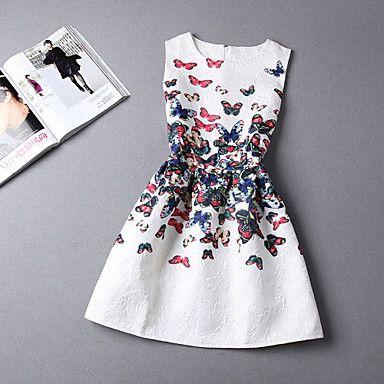 vrouwen afdruk vlinder mouwloze boven de knie jurk - EUR € 29.99