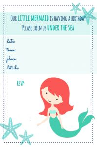 Free mermaid party printables!  Free invitations, food tags, iron-on graphics & more, plus ideas for how to use them & lots more thrifty party ideas.