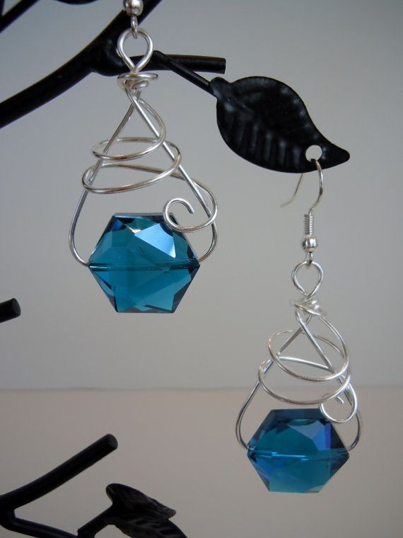 Calypso Crystal and Silver Wire Wrapped Earrings in by DebbieRenee, $22.00