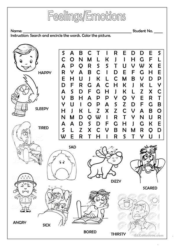 Feelings And Emotions Worksheets Printable Feelings Faces Worksheet For Preschoole In 2020 English Worksheets For Kids Feelings And Emotions Kids Worksheets Printables
