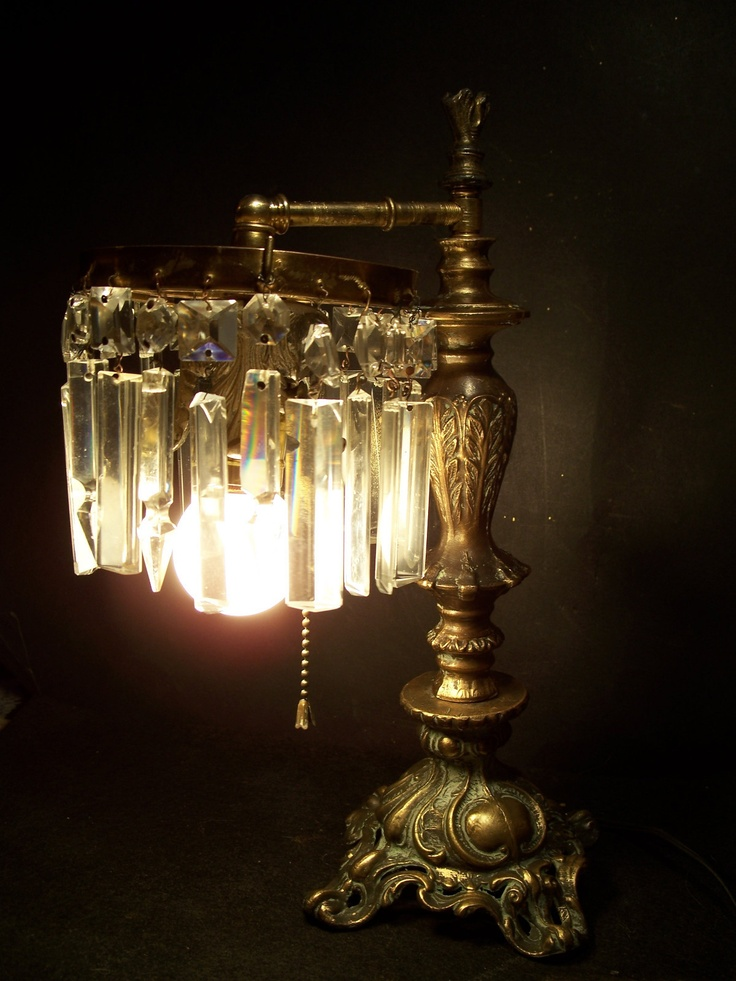 Gorgeous Antique Victorian Electric Table Lamp W Crystal