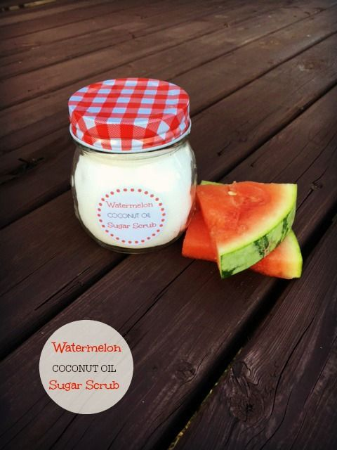This Watermelon Coconut oil sugar scrub will leave you thinking of summer picnics year round.