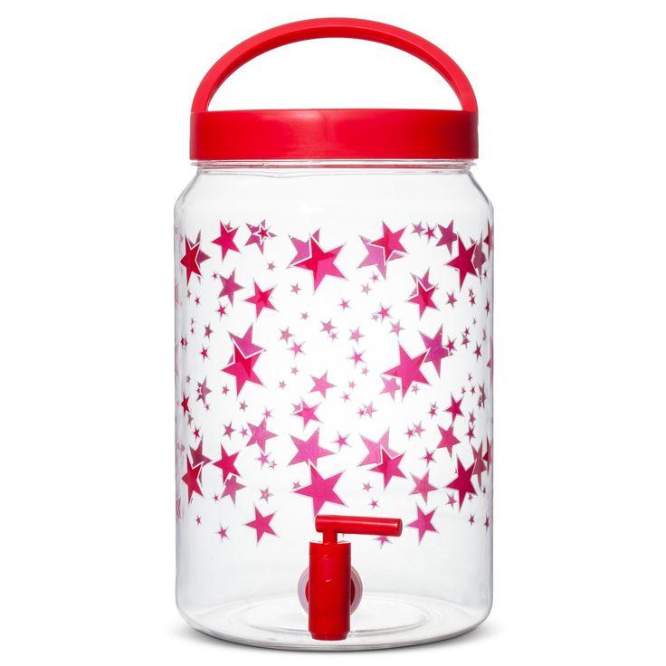 9.1 liter Plastic Beverage Dispenser - Stars Decal,
