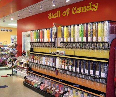 Acrylic Bins On Candy Rack Candy Store Pinterest