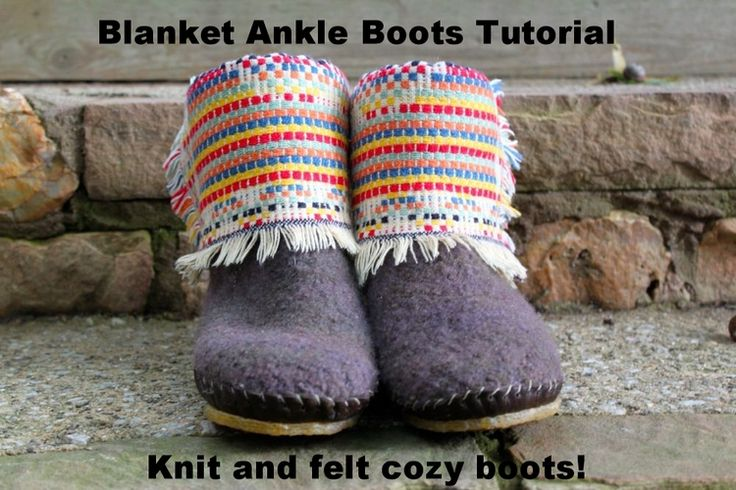 Free tutorial for adapting a slipper pattern to make a cute pair of sturdy, *outside* boots. From Katie Startzman at Duo Fiberworks.
