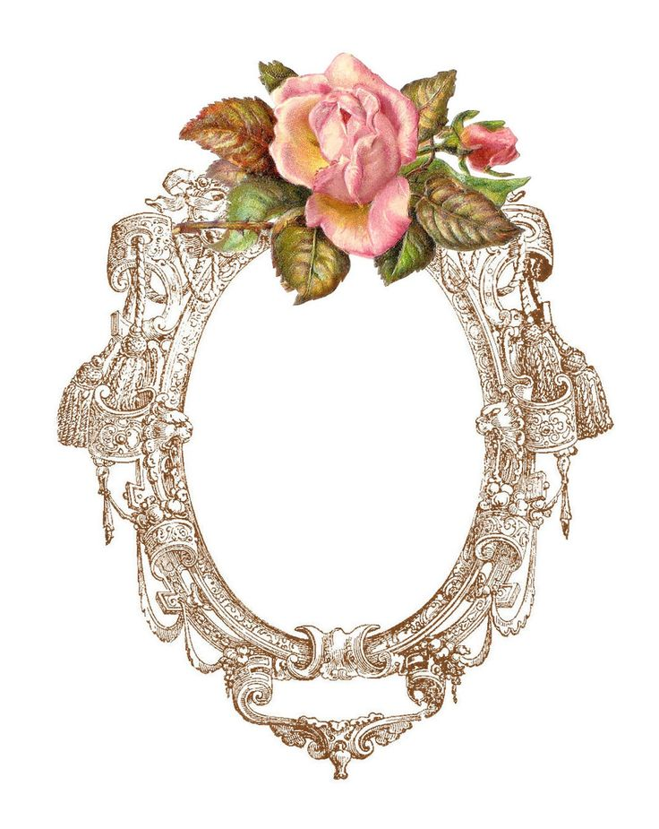 Frame with pink rose topper
