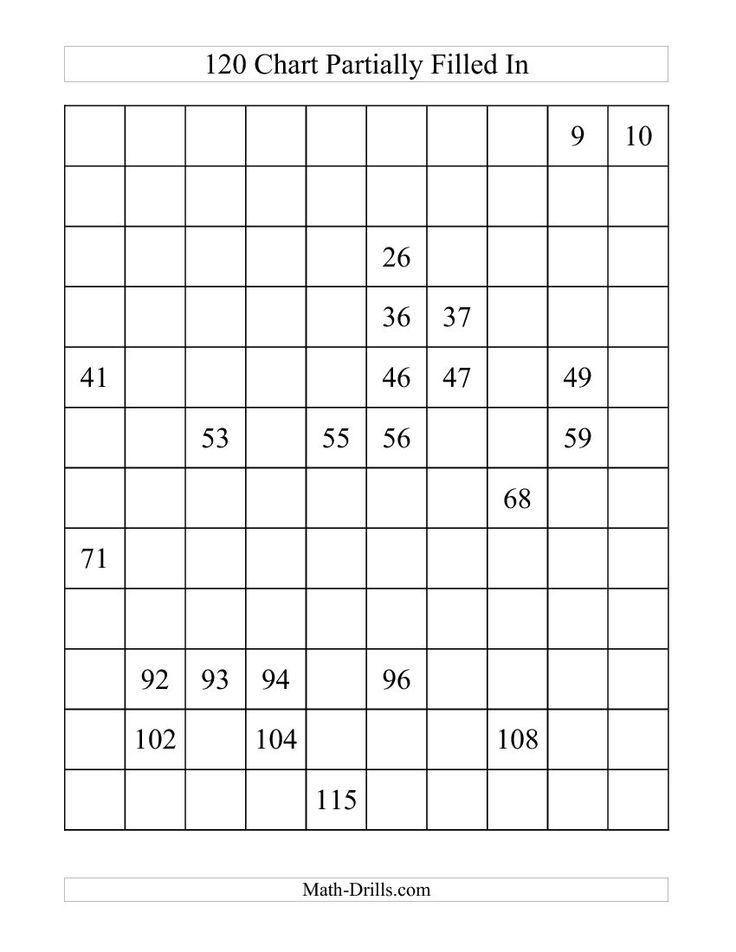 120 chart partially filled  a  math worksheet  freemath