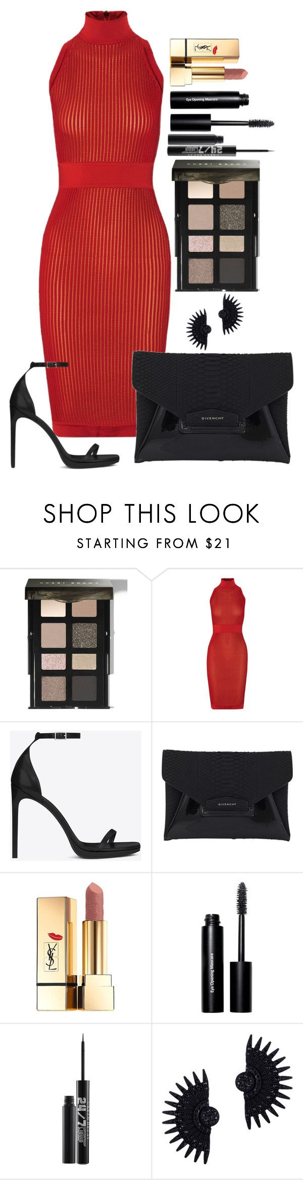 """Untitled #1445"" by fabianarveloc on Polyvore featuring Bobbi Brown Cosmetics, Balmain, Yves Saint Laurent, Givenchy, Urban Decay and Lulu Frost"