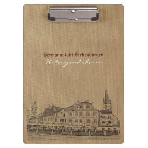 Customizable clipboard with old Transylvanian medieval town theme. You can customize all text lines from the front and back of the clipboard.