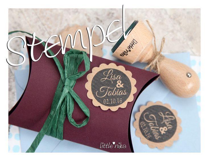 Einladungskarten - Stempel mit Namen zur Hochzeit /Einladung - ein Designerstück von littlenika bei DaWanda