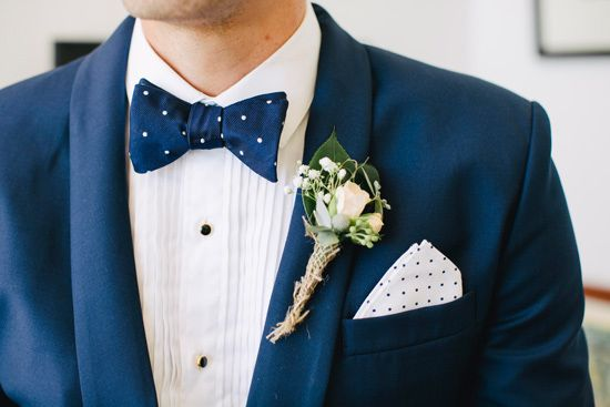 Groom in a polka dot bow tie Fun Vintage Wedding By The Water