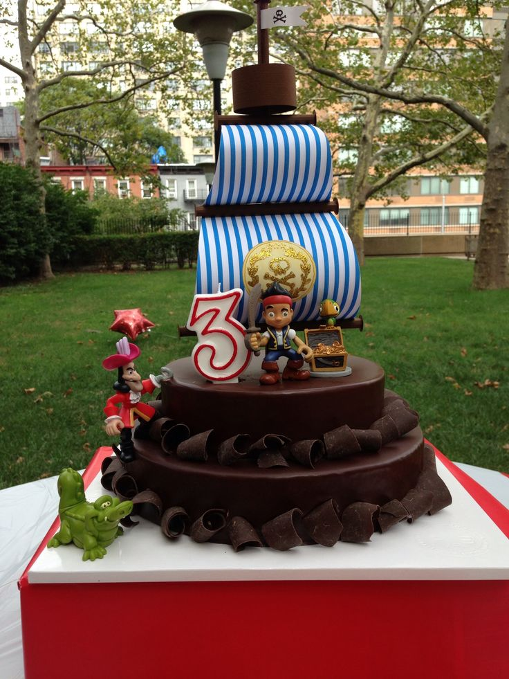 Jake and the neverland pirates cake topper! Made out of paper and jake's figurines