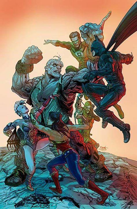 Solomon Grundy vs Green Lantern, Batman, Green Arrow, Wonder Woman, & Killer Frost (Injustice) Art by Renato Guedes #SuperHero #Batman #SuperHeroes #Marvel