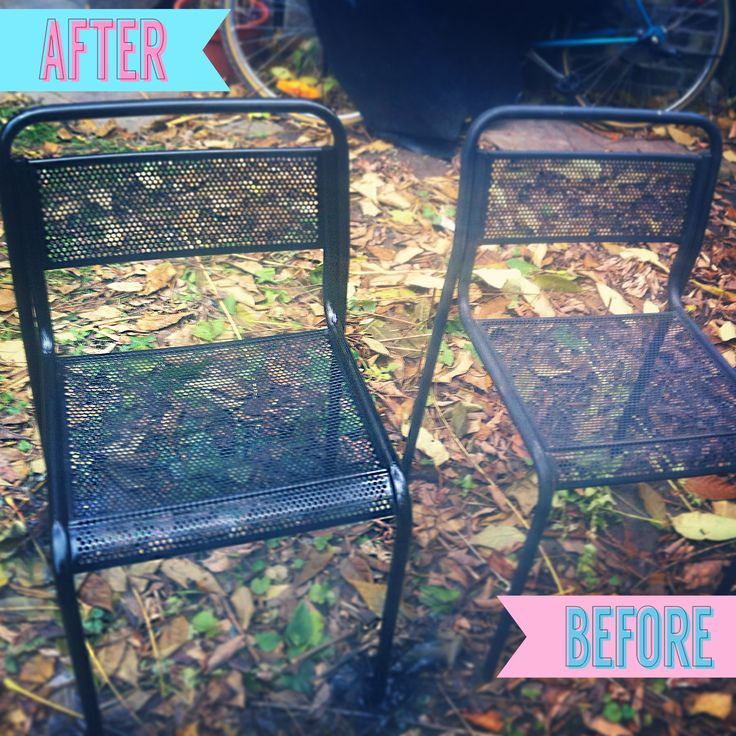 A pair of metal outdoor chairs given a bit of a lift ;) check out my plans on the site!