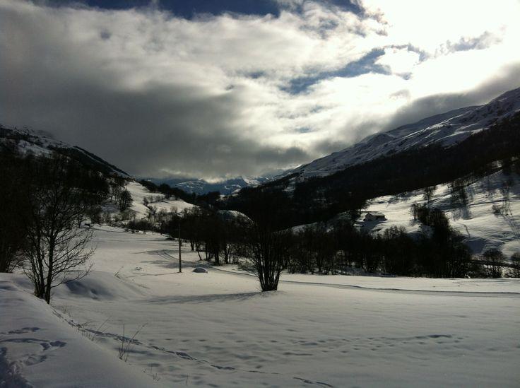Cross country skiing near the doron river