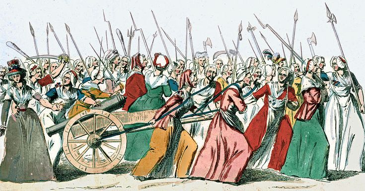 Women's March on Versailles,5-6.10. 1789.This picture shows the women's march on Versailles.Louis XVI agreed to accompany them back to Paris.1789, Bibliothèque nationale de France.